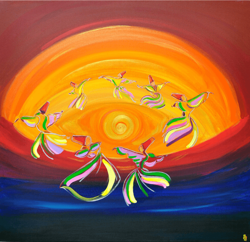 "Sema Dancers, 36"" x 36"", Acrylic on Canvas - SOLD"