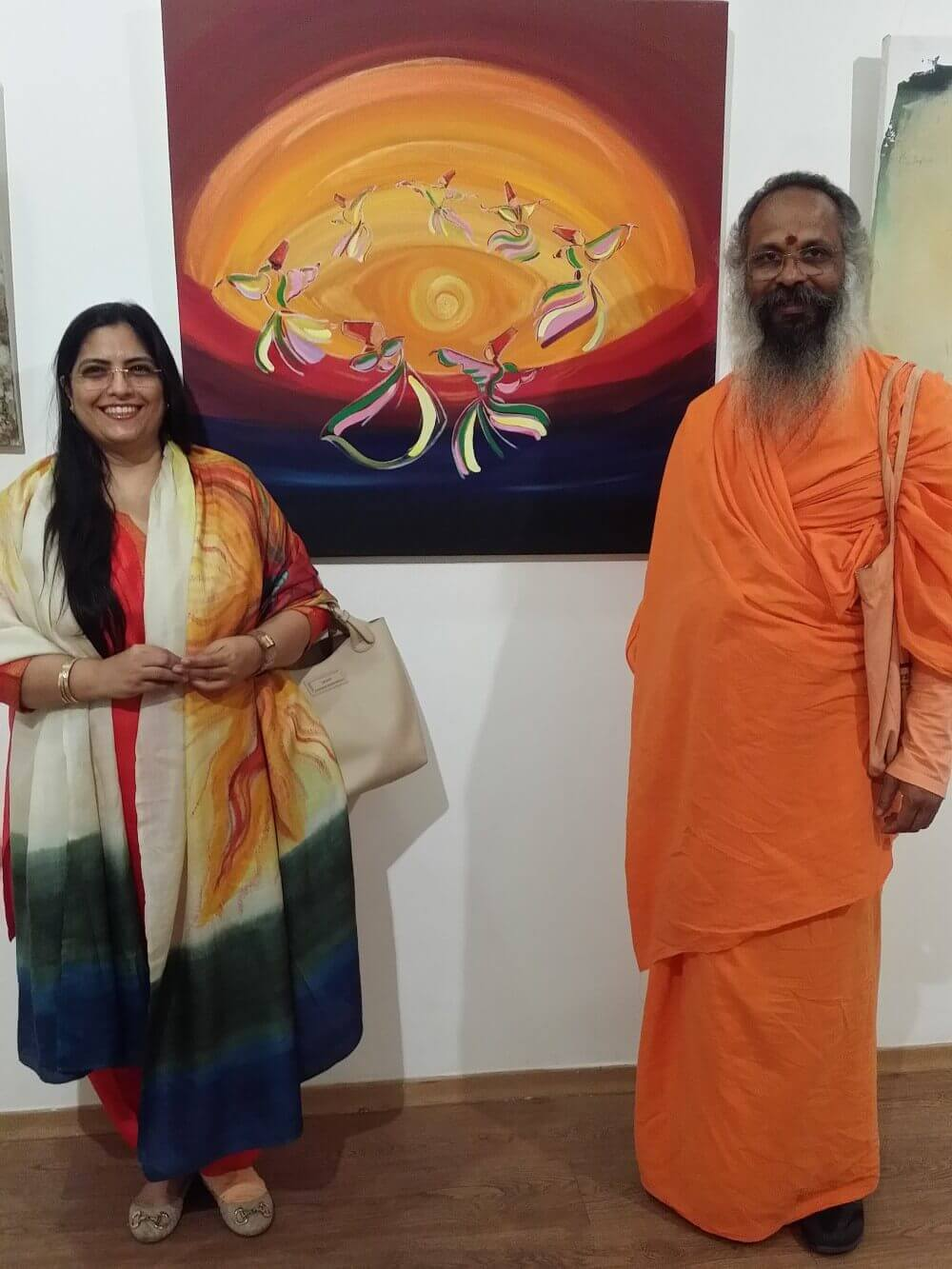 Swamy Nityabodhananda with Artist Annu Kalra at Exhibition