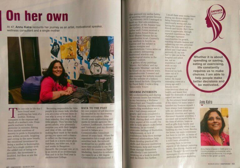 Article in Empower on Artist & Transformation Coach Annu Kalra