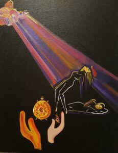 painting by annu kalra on the soul's journey to its source while the body rests in sleep